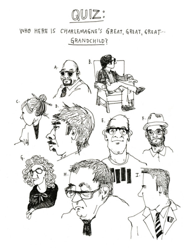 An illustration by Wendy MacNaughton posing the question who is related to Charlemange.