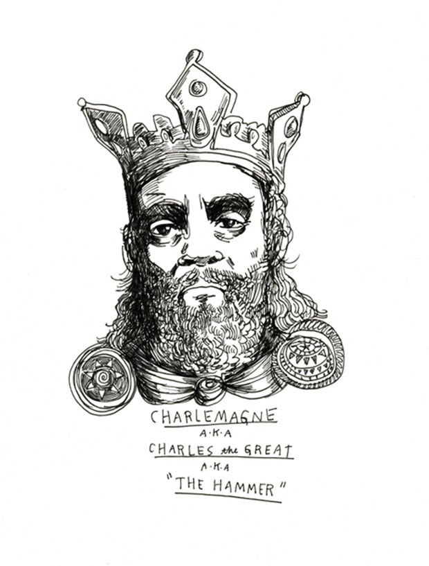 A drawing of Charlemange, King Charles, The Hammer, by Wendy MacNaughton.