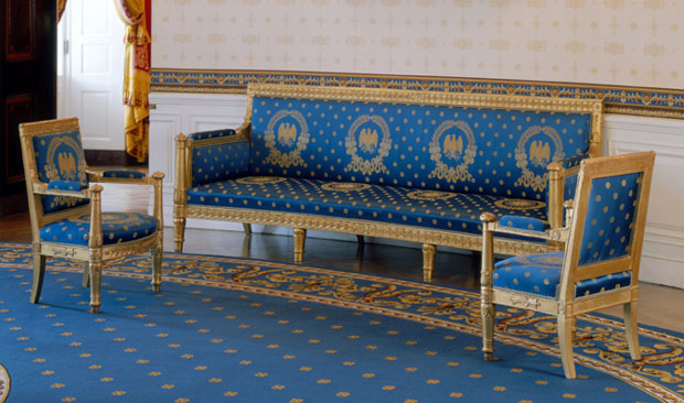 One of two sofas ordered for the Blue Room by President James Monroe in 1817. Photo by Bruce White for the White House Historical Association.