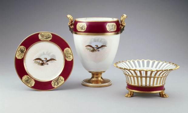 Nancy Reagan acquired this porcelain fruit cooler in 1986. It was part of the state dessert service of President James Monroe. Photo by Bruce White for the White House Historical Association.