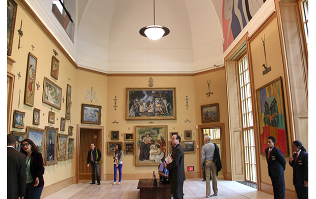 The main gallery of the new Barnes features works by Cezanne, Renoir, Seurat and a mural by Henri Matisse that was painted in the original Barnes. (Emma Lee, NewsWorks.org)