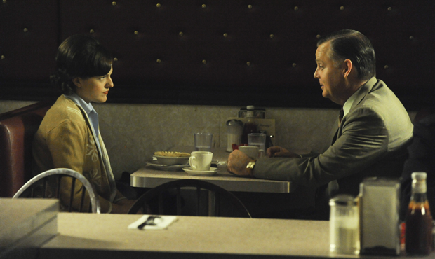 Elisabeth Moss as Peggy Olson and Joel Murray as Freddy Rumsen in a scene from Mad Men (Ron Jaffe)