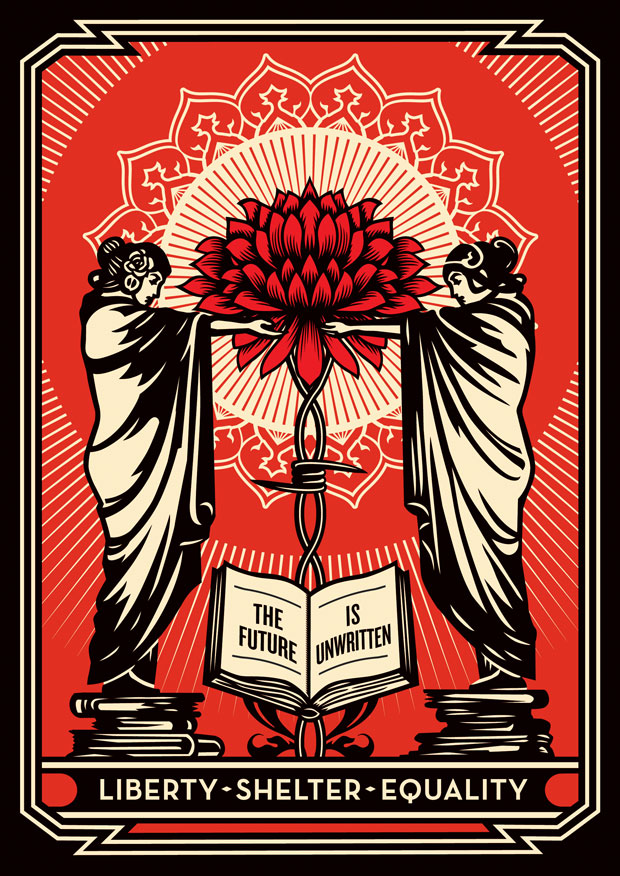 "Shepard Fairey made 100 limited edition prints of ""The Future Is Unwritten."""