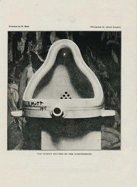"Photo of Marcel Duchamp's piece ""Fountain."""