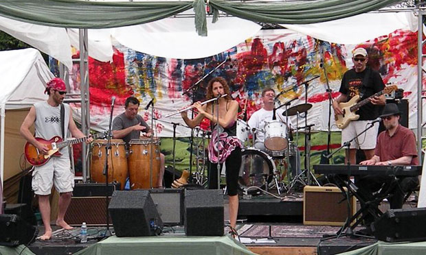 Maplewood psychologist David Gomberg plays guitar (L) in the New Jersey band MoodRing. here a performance at Maplewoodstock in 2009.