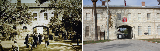 The Quadrangle at Fort Sam Houston — then and now.