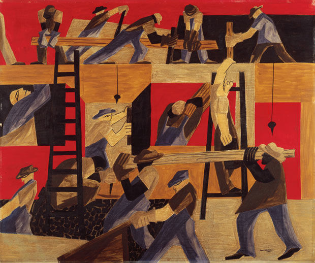 """The Builders"" by Jacob Lawrence (1947) became part of the White House in 2007 under Laura Bush. White House Historical Association (White House Collection)"