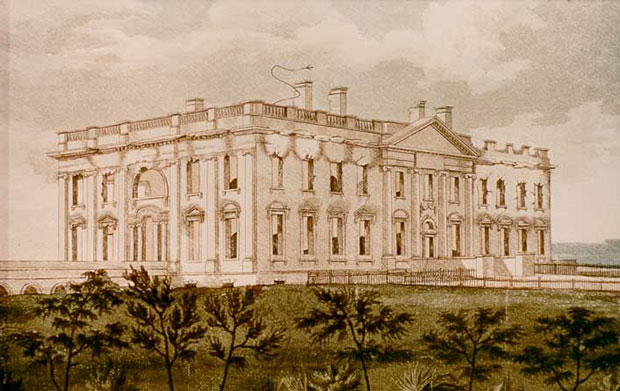 "This George Munger ink and watercolor on paper, ""The President's House,"" depicts a northeast view of the White House after it was burned by the British on Aug. 24, 1814. White House Historical Association (White House Collection)"