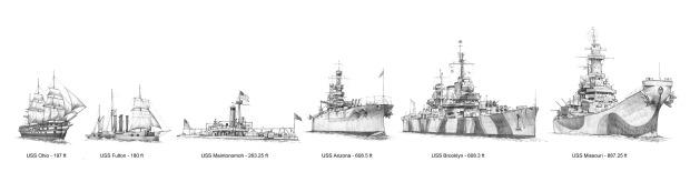 Warships built at the Brooklyn Navy Yard. Artwork by Mason Nye Murals.