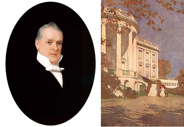 "While Barbara Bush lived in the White House, an 1851 watercolor of James Buchanan and ""South Front of the White House,"" a 1903 illustration for Century Magazine, became part of the collection. White House Historical Association (White House Collection)"
