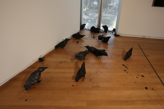 Murder, Maskull Lasserre, 2012 A flock, or murder, of crows made from burned maple, oak, ash, cedar, and basswood.
