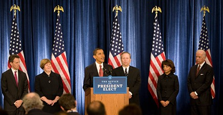 President-elect Obama holds a press conference announcing his economic ...