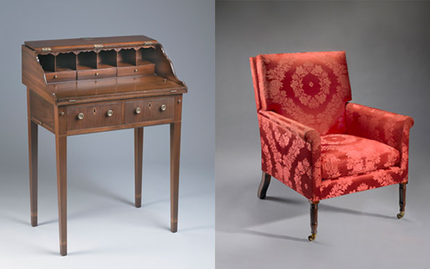 These 19th-century Hoban mahogany desk and Phyfe easy chair came into the White House collection during the Nixon administration. Desk photo courtesy of the White House Historical Association (White House Collection). Chair photo by Bruce White for the White House Historical Association. Cooler photo by Will Brown for the White House Historical Association.