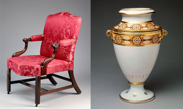 This 18th century mahogany Affleck easy chair and 1805-'06 Nast porcelain fruit cooler used by President and Mrs. James Madison became part of the White House collection in the 1970s. Bruce White and Will Brown for the White House Historical Association
