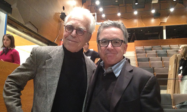 Playwright John Guare (<em>Six Degrees of Separation, The House of Blue Leaves</em>) and Signature Theatre Company's founding artistic director James Houghton. (Photo by Elliott Forrest)