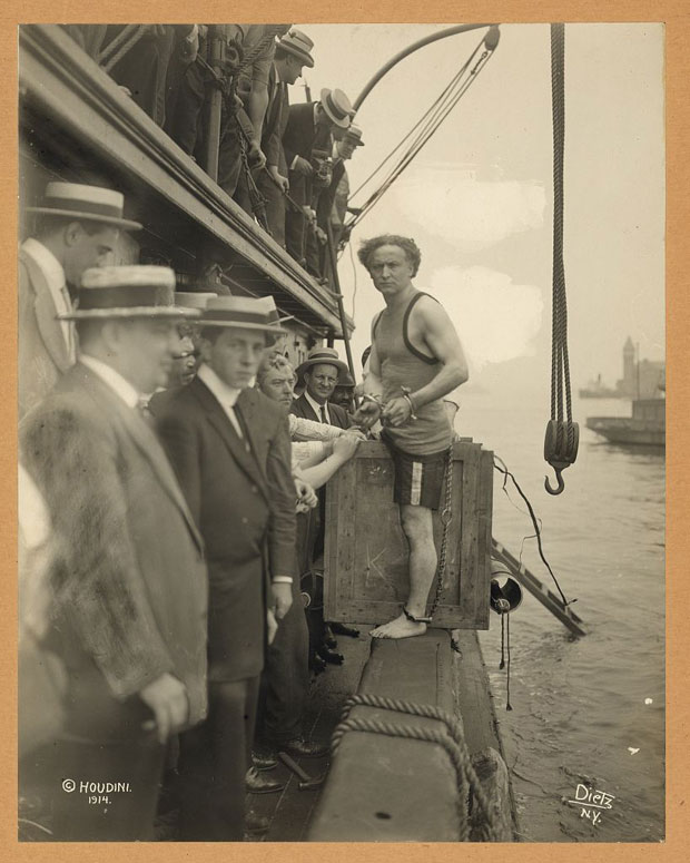 Harry Houdini about to be lowered into NY Harbor in 1912