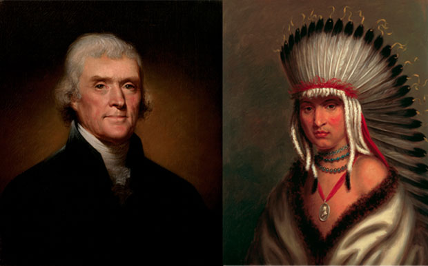 Below, an 1800 Rembrandt Peale oil on canvas of Thomas Jefferson and a set of five 1821 Charles Bird King portraits of Pawnee Tribe leaders who visited the White House from 1821-22. White House Historical Association (White House Collection)