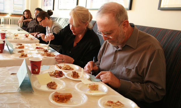 The judges of WNYC's Pie-OFF (L-R): Caitlin Thompson, Midge Woolsey and Leonard Lopate.