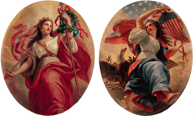 """Liberty"" and ""Union"" are a pair of oil paintings acquired in 1978 by Rosalynn Carter. They were made by Constantino Brumidi in 1869 for the ceiling of the White House Entrance Hall. White House Historical Association (White House Collection)"