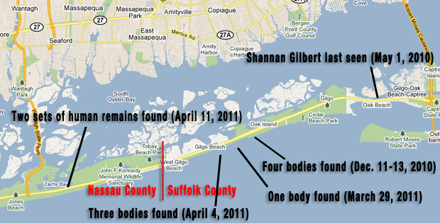 Map | Tracking the Trail of a Possible Serial Killer on Long ... Gilgo Beach Map on westhampton map, hicksville map, lindenhurst map, blue point map, great neck map, far rockaway map, smithtown map, centerport beach map, syosset map, wildwood beach map, kew garden hills map, copiague map, ridge map, ocean beach map, medford map, fire island beach map, astoria ny map, shelter island beach map, west islip map, westbury map,