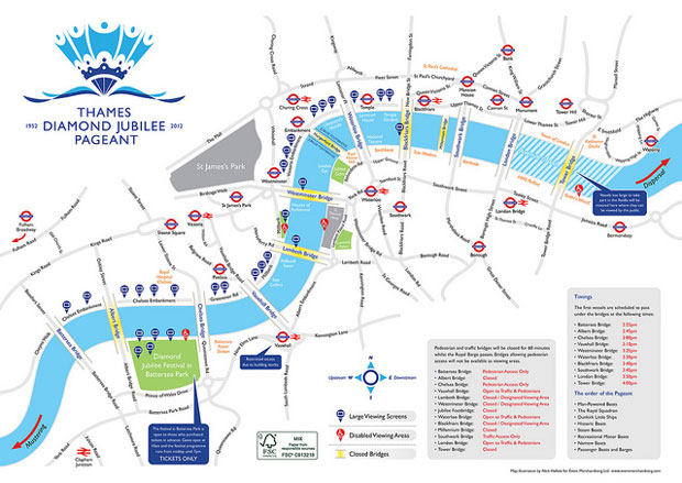 The route of the Thames Diamond Jubilee Pageant. Copyright © 2012 Thames Diamond Jubilee Pageant.