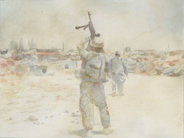 Pierce's watercolor of Wilkens, who was a machine gunner for his squad, getting his gun ready on a mission.