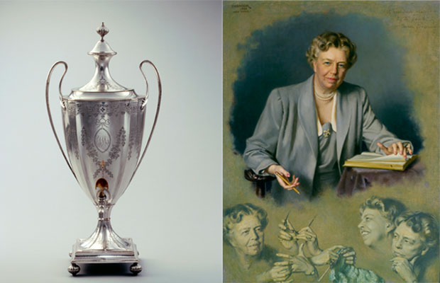 A 1785 Sheffield, England silverplate coffee urn owned by John and Abigail Adams and this Chandor portrait of Mrs. Eleanor Roosevelt became part of the White House collection under Lady Bird Johnson. Urn photo by Bruce White for the White House Historical Association. Chandor portrait photo courtesy of the White House Historical Association (White House Collection)