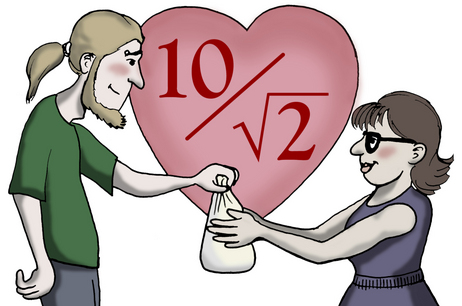 """10/root(2) means """"I love you."""""""