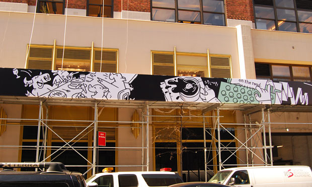 One of the pieces of the 450-foot long mural made by Dark Igloo on Google's New York headquarters scaffolding.