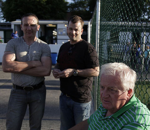 John Riordan, right, has been a fixture at Gaelic Park for over forty years. Photo by Denise Blostein.
