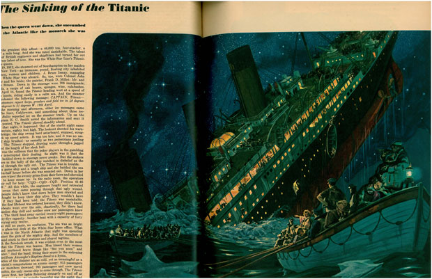 'The Sinking of the Titanic' appeared in a July 1946 issue of Esquire Magazine. This painting is by Harper Goff.