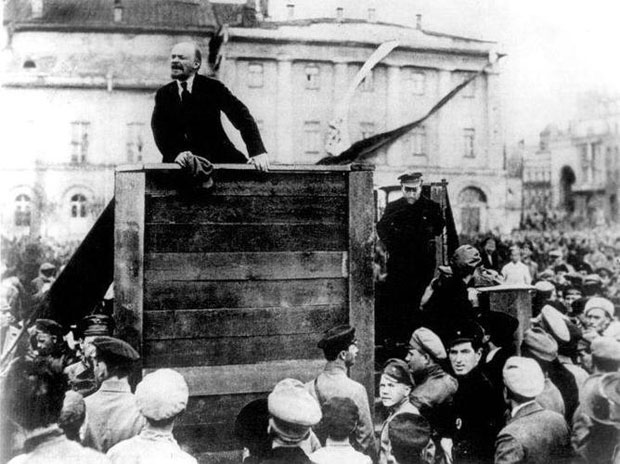Lenin speaking to the troops in 1920 after Stalin had ordered that Leon Trotsky be removed from the photo