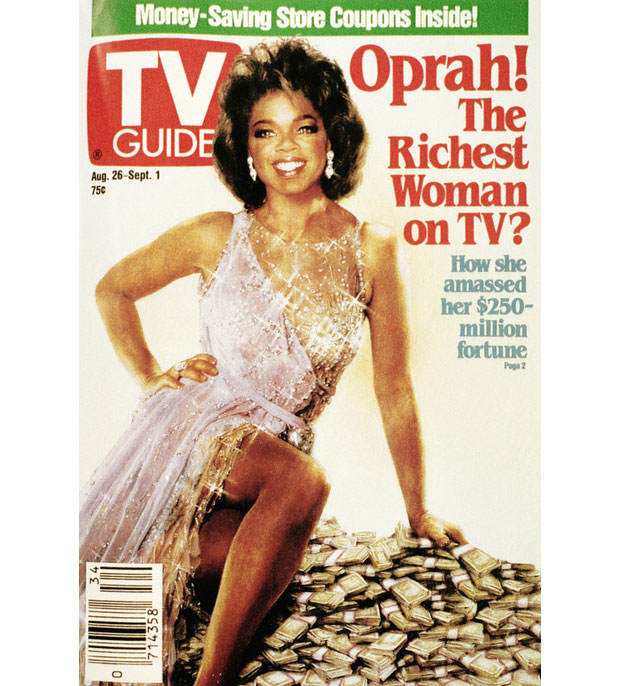 A 1989 issue of TV Guide featuring Oprah Winfrey's face superimposed on actress Ann-Margaret's classic hourglass figure.