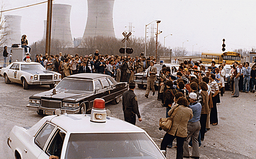 President Jimmy Carter leaving Three Mile Island for Middletown, Pennsylvania.