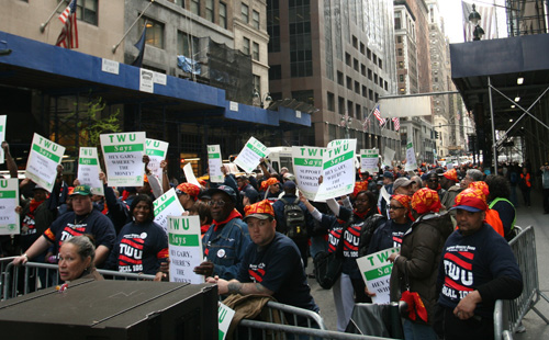 Protesters from Transport Workers Union 100 lined ... </div></body></html>