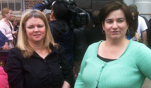 Caren Criscupoli and Cathy Pagan, teachers at I.S. 73 in Maspeth where a higher than normal number of students have called in absent. The chancellor and union leaders visited Monday to discuss concerns about swine flu.