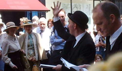 Bloomsday performers outside Davy Byrne's pub, Dublin, Bloomsday 2003.