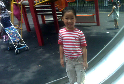 Genevieve Chan, age 5, at a playground in Chinatown.