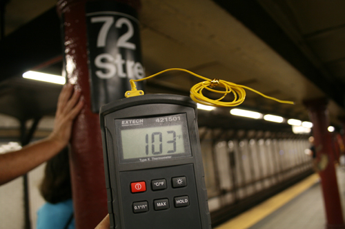 The temperature was 103 degrees Friday afternoon on the Number 1 train platform at 72nd Street