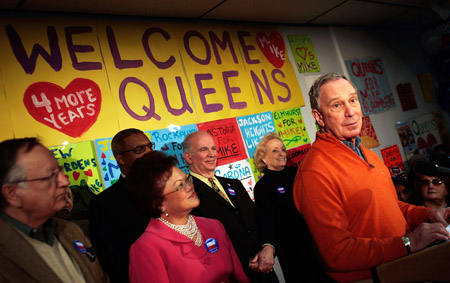 New York City Mayor Michael Bloomberg in his Queens Campaign office on March 28, 2009.
