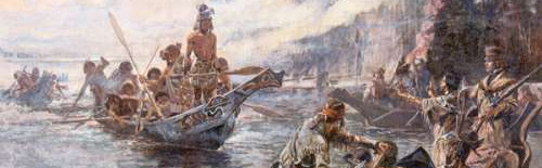 """Lewis and Clark on the Lower Columbia"" by Charles Marion Russell 1905."
