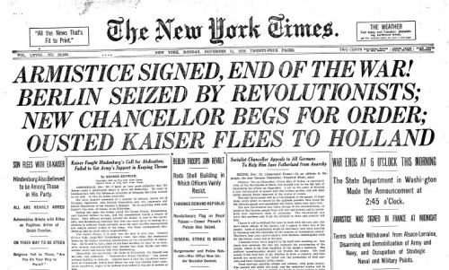 Front page of The New York Times of November 11, 1918 - WWI ends!