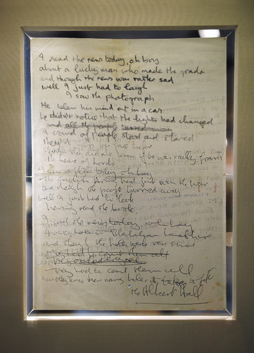 "The double sided sheet of paper with lyrics to ""A Day in the Life"" (Photo by Emmanuel Dunard /AFP/Getty Images)"